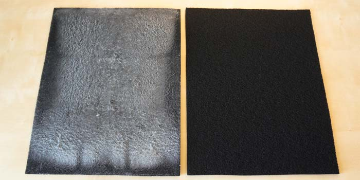 EAP300 carbon filter before and after