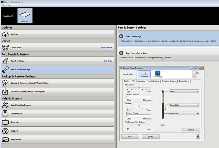 Wacom tablet driver screenshot