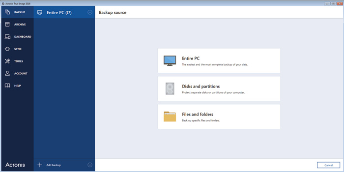 Acronis True Image 2016 source selection