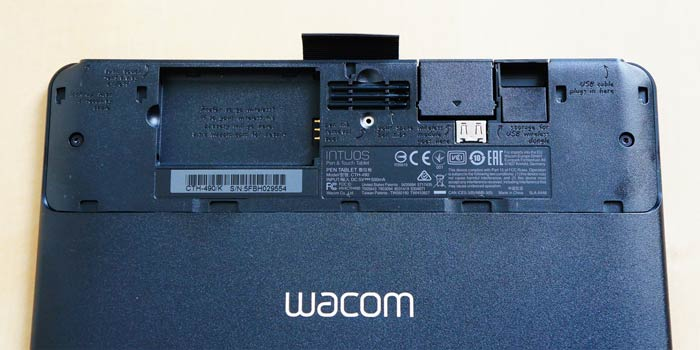 Wacom tablet rear compartment