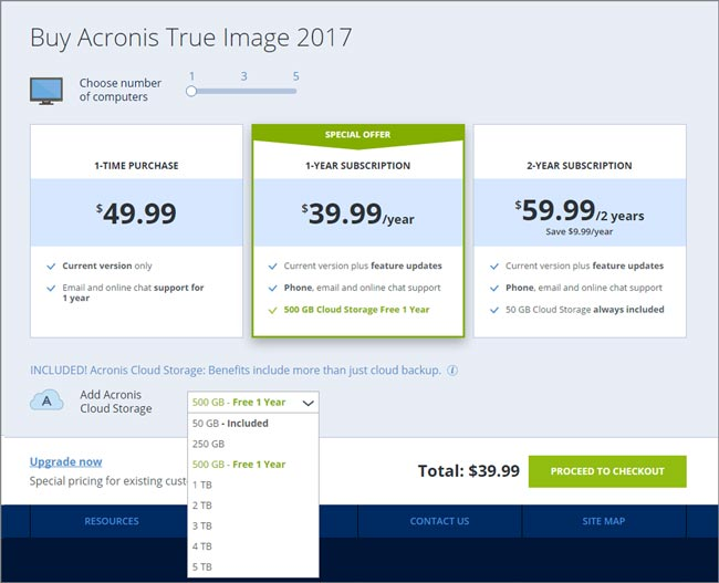 Acronis True Image price options