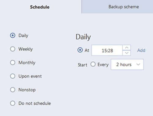 Acronis time scheduling