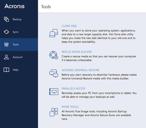 Acronis tool tab