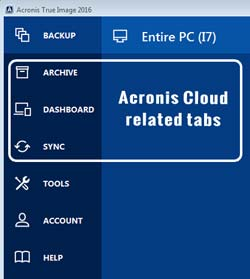 Acronis 2016 toolbar