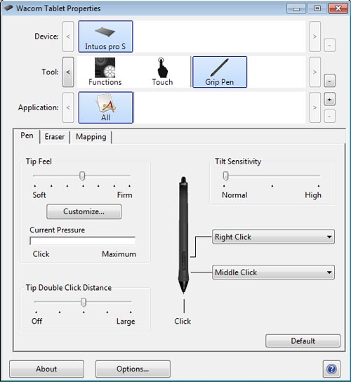 Wacom driver screenshot