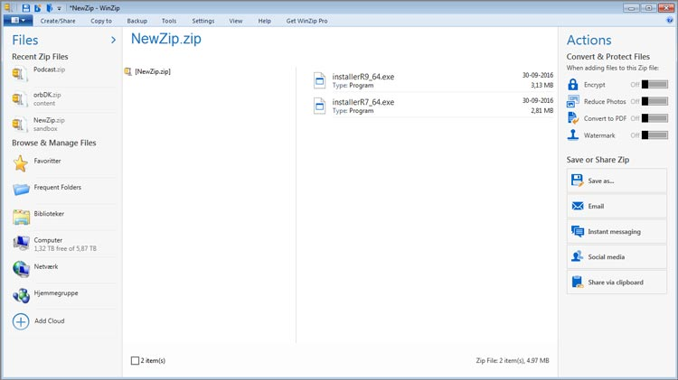 WinZip user interface.