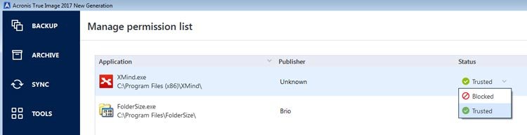 Acronis Ransomware permission list