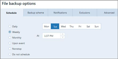 Different backup scheduling options in Acronis True Image