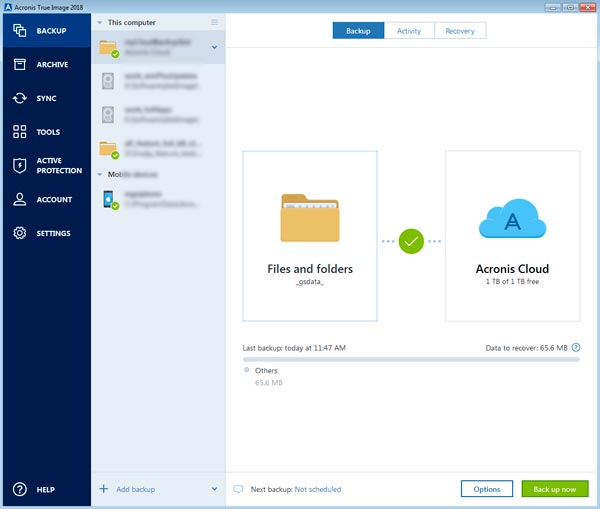 Acronis True Image 2018 user interface