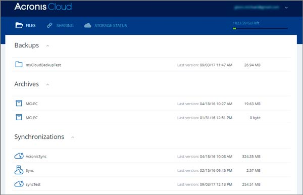 Acronis Cloud has been improved